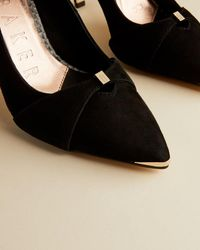 Ted Baker Suede Bow Strap Courts Shoes - Black