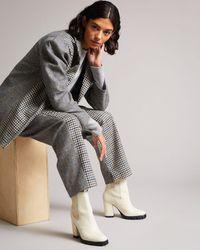 Ted Baker Pantalón De Tweed Diseños En Contraste - Marrón