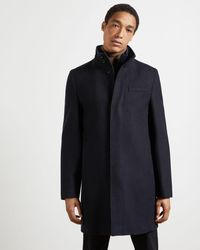 Ted Baker Funnel Neck Coat With Removable Inner - Blue