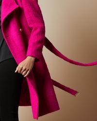 Ted Baker Shawl Collar Wool Coat - Pink