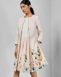 Ted Baker Manteau Robe Texturé À Imprimé Elegant - Rose