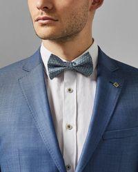 Ted Baker Geo Print Silk Bow Tie - Blue