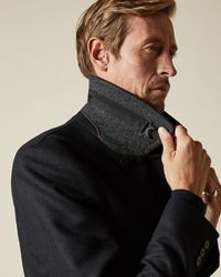 Ted Baker Tall Double Breasted Wool Peacoat - Blue