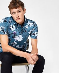 Ted Baker - Floral Print Cotton Polo Shirt - Lyst