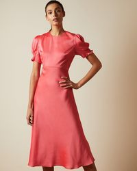 Ted Baker Bias Cut Dress With Puff Sleeves - Pink