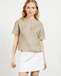 Ted Baker Relaxed Metallic Knitted Top - Mettallic