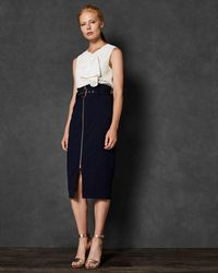 Ted Baker - Top Stitch Detail Pencil Skirt - Lyst