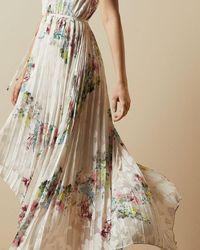 Ted Baker Pergola Pleated Dip Hem Dress - White
