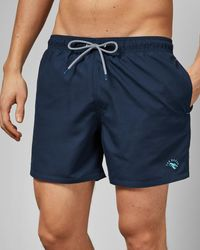Ted Baker Plain Swim Shorts With Pocket - Blue