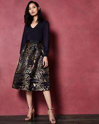 Ted Baker - Kyoto Gardens Jacquard Midi Skirt - Lyst