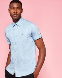 Ted Baker - Mini Checked Cotton Shirt - Lyst