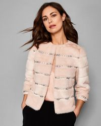 Ted Baker - Embellished Faux Fur Jacket - Lyst