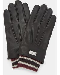 Ted Baker Ribbed Cuff Leather Gloves - Black