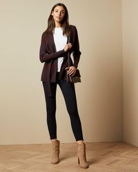 Ted Baker Long Line Checked Cardigan - Purple