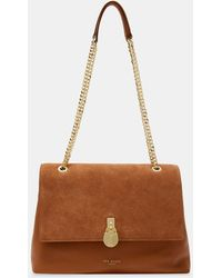 Ted Baker Hermiaa Suede And Leather Shoulder Bag - Brown