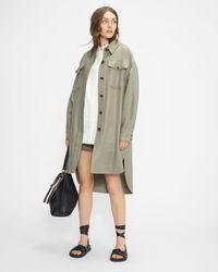 Ted Baker Long Oversized Wool Shacket - Verde