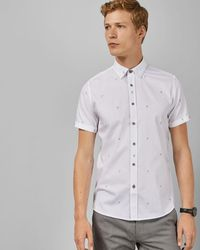 Ted Baker Cotton Cocktail Embroidered Shirt - Weiß