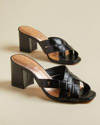 Ted Baker Leather Croc Effect Mules - Negro