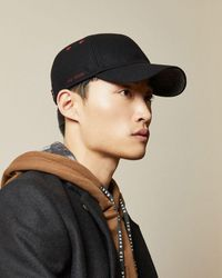 Ted Baker Stitch Detail Wool Baseball Cap - Black