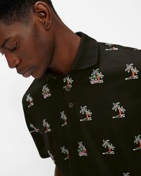 Ted Baker Palm Tree Embroidered Polo - Black