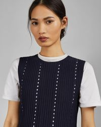 Ted Baker Eyelet Detail Knitted Vest Top - Blue