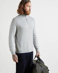 Ted Baker - Half Zip Funnel Neck Knitted Jumper - Lyst