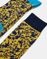 e28ae76fa44 Ted Baker Leonin Leaf Socks in Blue for Men - Lyst