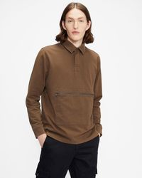 Ted Baker Ls Rugby Top - Brown