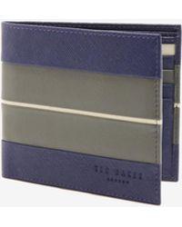 Ted Baker - Striped Bi-fold Leather Wallet - Lyst