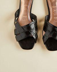 Ted Baker Leather Croc Effect Flat Sandal - Black