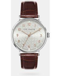 Ted Baker Reloj De Piel Textura Piel De Cocodrilo - Marrón