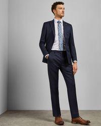 Ted Baker Debonair Plain Wool Slim Fit Pants - Blue