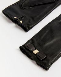 Ted Baker Frannca Bow-appliqué Leather Gloves - Black