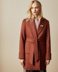 Ted Baker Short Wrap Coat - Orange