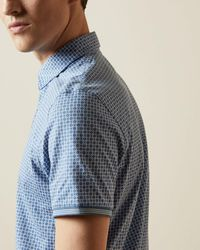 Ted Baker Geo Print Polo Top - Blue