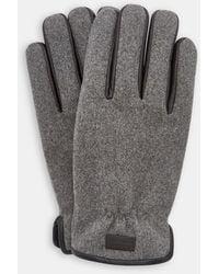 Ted Baker Leather Trim Gloves - Gris