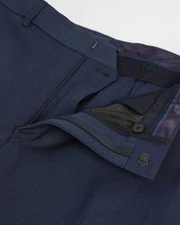 Ted Baker Slim Fit Plain Suit Trouser - Blue