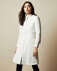 Ted Baker Textured Dress Coat - White