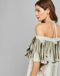 Ted Baker Piipper Willow Cold - Shoulder Overlay Romper - Green