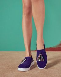 Ted Baker Tassel Detail Suede Court Shoes - Blue