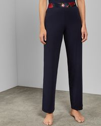 6cdbeced69b3 Ted Baker Bow Waist Trousers in Blue - Lyst