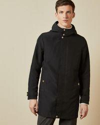 Ted Baker Funnel Neck Detachable Hooded Coat - Black