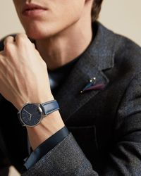 Ted Baker Leather Strap Watch - Blue