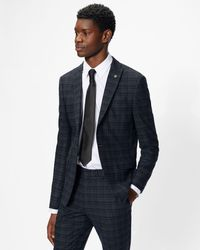 Ted Baker Slim Fit Checked Suit Jacket - Blue