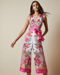 Ted Baker Samba Printed Jumpsuit - White