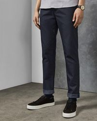 Ted Baker Slim Fit Textured Trousers - Blue