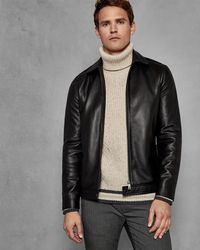Ted Baker - Collared Leather Jacket - Lyst