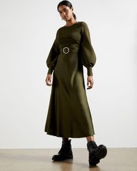 Ted Baker Belted Midi Dress - Green
