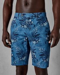 Ted Baker - Flower Printed Cotton Shorts - Lyst