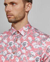 Ted Baker Floral Print Cotton Shirt - Pink